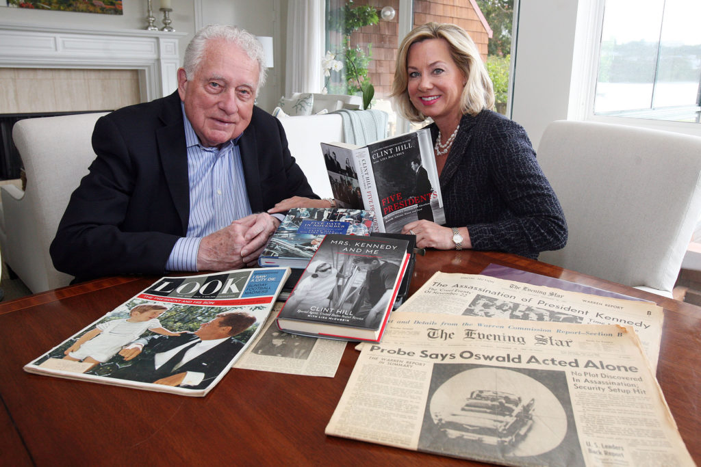 Clint Hill and Lisa McCubbin reflect over a lifetime of media articles depicting Clint's Secret Service years in the White House, most noticeably his memoirs of being attached to Kennedy's limo entourage in Dallas, 1963. Photo by Elliot Karlan.